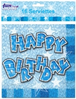 Blue glam birthday party serviettes 2ply 16 in pack