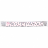 Radiant Cross glitter fringed communion banner, featuring a 1st holy communion message in Pink with glitter outline. Pattern is repeated.