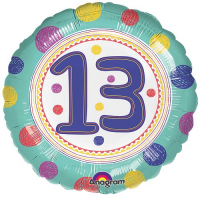 Unisex girls or boys 13th Birthday Round Balloon