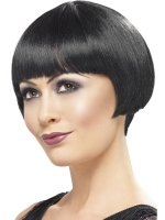 Ladies Flapper Gatsby Girl 1920's Black Bob Fancy Dress Wig With Fringe