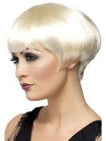 Ladies Flapper Gatsby Girl 1920's Blonde Bob Fancy Dress Wig With Fringe