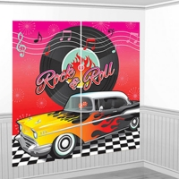 1950's Theme Party Classic Rock and Roll Scene Setter Wall Decorating Kit