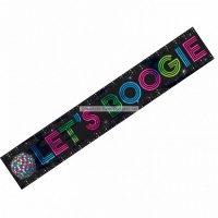 1970s Disco Fever Lets Boogie Foil Banner Party Decoration 7.6m
