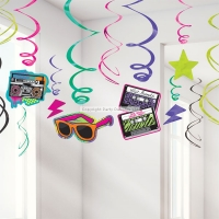 Totally 80's Hanging Swirls Party Decoration 60cm
