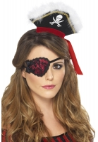 Ladies Fancy Dress Red Pirate Eye Patch Accessory