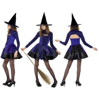 Teen Girls Stripe Purple Dark Fairy Halloween Witch Fancy Dress Costume Smiffys