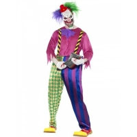 Mens Halloween Kolourful Killer Clown Costume
