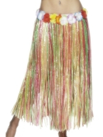 Long Multi-Coloured Hawaiian Hula Skirt fancy dress