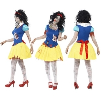 Ladies Zombie Princess Snow Fright Halloween Fancy Dress Costume