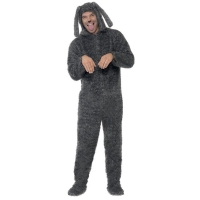 Adults Grey Fluffy Dog  Jumpsuit Fancy Dress Costume