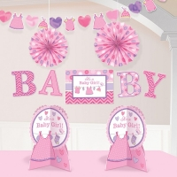 Girl's Baby Shower With Love Pink Room Party Decorating Kit