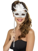 Silver  Masquerade Eye Mask Fancy Dress accessory on stick with white feather