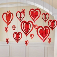 Valentines Day 3D Heart Hanging Decorations
