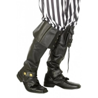 Caribbean Pirate Boot Tops Black Leather look