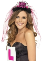 Bride To Be Tiara with Veil in Black and Pink