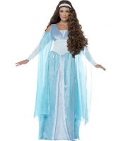 Ladies Medieval Maiden Blue Fancy Dress Costume