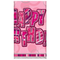 Glitz birthday pink party tablecover