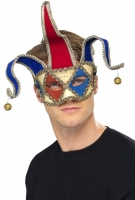 Deluxe red and Blue Jester Masquerade Eye Mask
