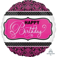 Black, Pink & White Happy Birthday Foil Balloon Party Celebration Decoration 18""