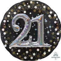 "21st Birthday Sparkling Celebration 3D Balloon 32"" Foil Celebration Party Dec"
