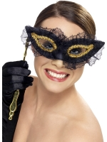 Black and gold Masquerade Eye Mask Fancy Dress accessory
