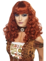 Ladies Halloween Fancy Dress Steam Punk Female Wig Auburn