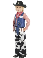 Boys Cow Print And Denim Cowboy Fancy Dress Costume