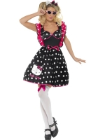 Ladies Hello Kitty Polka Dot Fancy Dress Costume