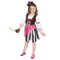 Girls Pink Pirate Fancy Dress Costume