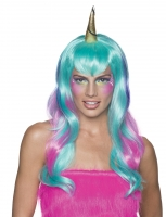 Magical Unicorn Fairy Purple Blue Fancy Dress Wig