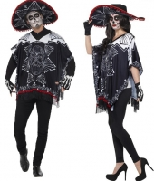 Ladies/ Mens Day of the Dead Bandit Poncho Costume