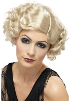 1920's short Blonde Curly Wig