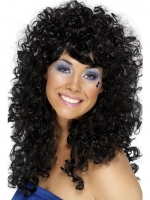 Ladies 1980's Boogie Babe Curly Black Fancy Dress Wig