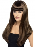Brown Babelicious Long Brown Fringe Fancy Dress Wig