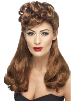 Ladies 1940's Auburn Vintage Fancy Dress Wig With Top Curls