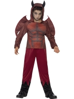 Boys Halloween devil Costume top with horned hood