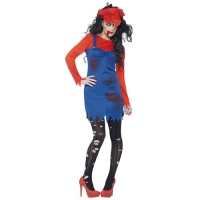 Ladies Halloween Fancy Dress Zombie Plumber Costume