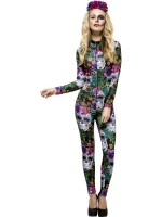 Ladies Halloween Fancy Dress Costume Day Of The Dead Jumpsuit