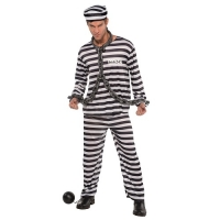 Adults Jailbird Con Prisoner Costume