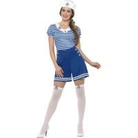 Ladies Fancy Dress Sexy Sailor Girl Sea Costume