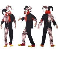 Mens Crazed Jester Halloween Fancy Dress Costume Smiffys