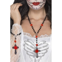 Halloween Fancy Dress Day of the Dead Rosary Bead Set Accessory