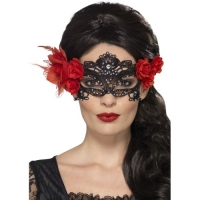 Day of the dead Lace Rose Masquerade Eye Mask Fancy Dress accessory