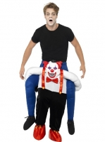 Mens Halloween Fancy Dress Sinister Clown Piggy Back Costume