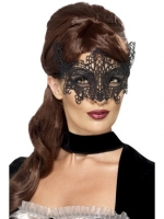 Deluxe black embroidered Masquerade Eye Mask