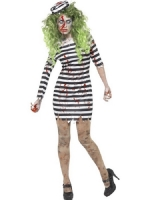 Ladies Halloween Fancy Dress Zombie Jail Bird Costume