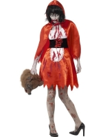 Ladies Halloween Fancy Dress Zombie Little Miss Hood Costume