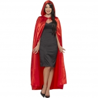 Red Satin Hooded Fancy Dress Cape Halloween Costume Acc