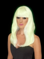 Ladies Halloween Fancy Dress Glow In The Dark White Party Wig