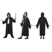 Black Wizard Childrens Cloak Cape Halloween Fancy Dress Accessory